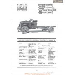 Republic Three And One Half Ton Truck Model 20 Fiche Info 1920