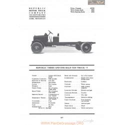 Republic Three And One Half Ton Truck T Fiche Info 1918