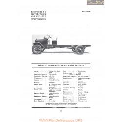 Republic Three And One Half Ton Truck T Fiche Info 1919