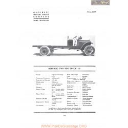 Republic Two Ton Truck 12 Fiche Info 1919