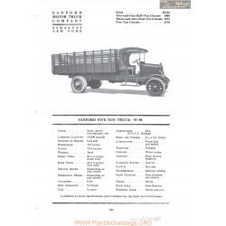 Sanford Five Ton Truck W50 Fiche Info 1920