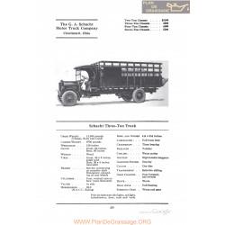 Schacht Three Ton Truck Fiche Info 1922