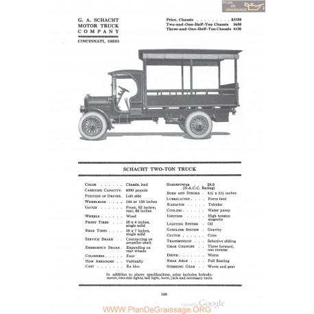 Schacht Two Ton Truck Fiche Info 1920