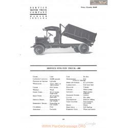 Service Five Ton Truck 300 Fiche Info 1918