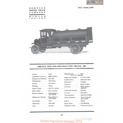Service One And One Half Ton Truck 230 Fiche Info 1918