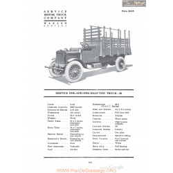 Service One And One Half Ton Truck 36 Fiche Info 1920