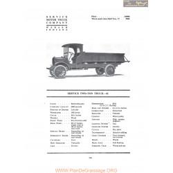 Service Two Ton Truck 41 Fiche Info 1919