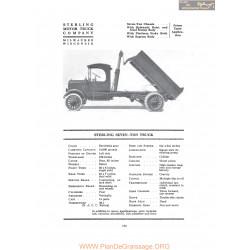 Sterling Seven Ton Truck Fiche Info 1917