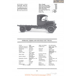 Sterling Three And One Half Ton Truck Fiche Info 1918