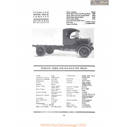 Sterling Three And One Half Ton Truck Fiche Info 1919