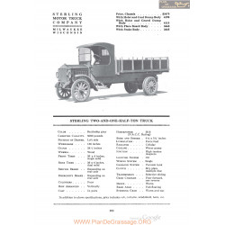 Sterling Two And One Half Ton Truck Fiche Info 1920