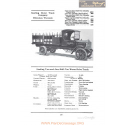 Sterling Two And One Half Ton Worm Drive Truck Fiche Info 1922