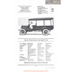 Stewart Three Quarter Ton Speed Truck Fiche Info 1922