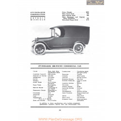 Studebaker 1000 Pound Commerciel Car Fiche Info 1917