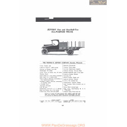 Thomas Jeffery One And One Half Ton All Purpose Truck Fiche Info 1916