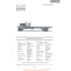 United Five Ton Truck V Fiche Info 1920