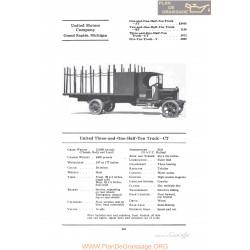 United Three And One Half Ton Truck Ct Fiche Info 1922