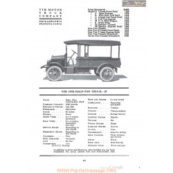 Vim One Half Ton Truck 27 Fiche Info 1920
