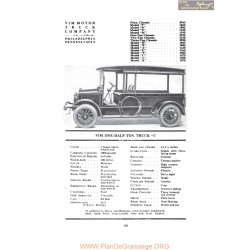 Vim One Half Ton Truck C Fiche Info 1919