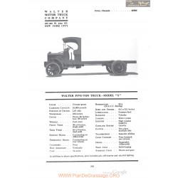 Walter Five Ton Truck Model S Fiche Info 1920