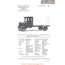 Walter Five Ton Truck S Fiche Info 1922