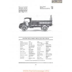 Walter Four Wheel Drive Five Ton Truck Fiche Info 1916