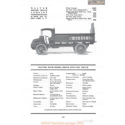 Walter Four Wheel Drive Five Ton Truck Fiche Info 1918