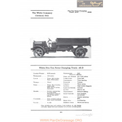 White Five Ton Power Dumping Truck 45d Fiche Info 1922