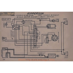 Apperson 6 17 8 17 48 58 6volt Schema Electrique 1916 1917 Bijur Remy