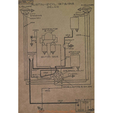 Austin 12cyl Schema Electrique 1917 1918 Delco