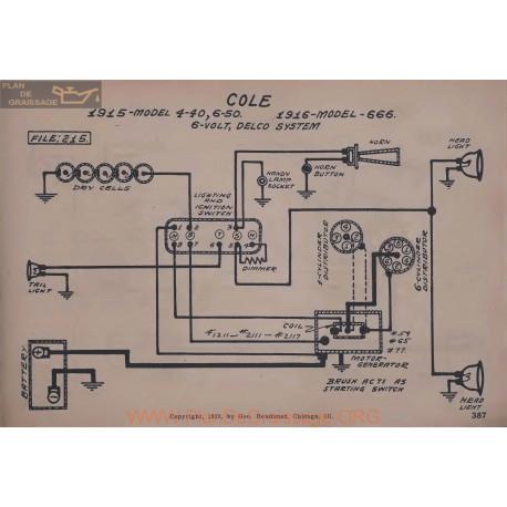 Cole 4 40 6 50 666 6volt Schema Electrique 1915 1916 Delco