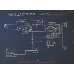 Davis 6 H I K Schema Electrique 1917 1918 1919 Delco