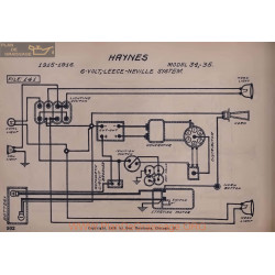 Haynes 34 35 6volt Schema Electrique 1915 1916 Leece Neville V2