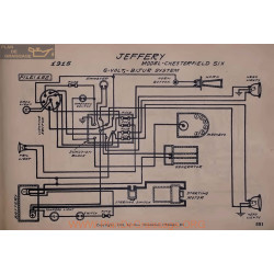 Jeffery Chesterfield Six 6volt Schema Electrique 1915 Bijur V2