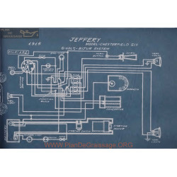 Jeffery Chesterfield Six 6volt Schema Electrique 1915 Bijur