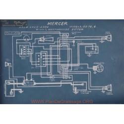 Mercer 22 74 4 6volt Schema Electrique 1918 1919 1920 Westinghouse