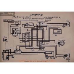 Mercer 22 74 7 6volt Schema Electrique 181 1919 1920 Westinghouse