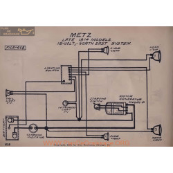 Metz Late 12volt Schema Electrique 1914 North East