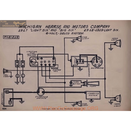 Michigan Hearse Company Light Six Big 6volt Schema Electrique 1917 1918 1919 Delco
