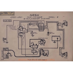 Nash I Four Cyl 6volt Schema Electrique 1920 1921 Wagner