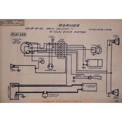 Roamer 4 75 6 54 A 15737 6volt Schema Electrique 1918 1919 1920 Bijur