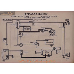 Scripps Booth 8 C D H 6volt Schema Electrique 1916 1917 1918 Wagner V2