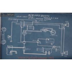 Scripps Booth 8 C D H 6volt Schema Electrique 1916 1917 1918 Wagner