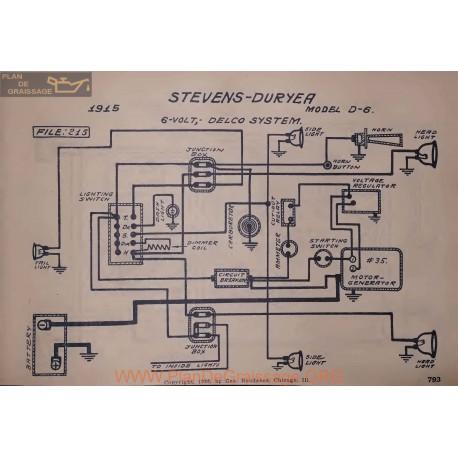 Stevens Duryea D6 6volt Schema Electrique 1915 Delco V2