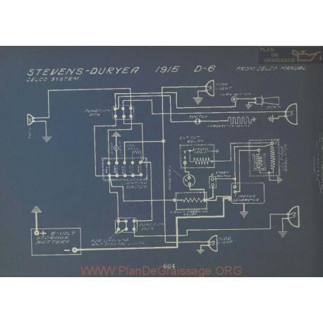 Stevens Duryea D6 Schema Electrique 1915 Delco