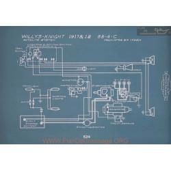 Willys Knight 88 4 C Schema Electrique 1917 1918