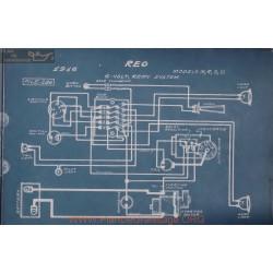 Reo M R S U 6volt Schema Electrique 1916 Remy