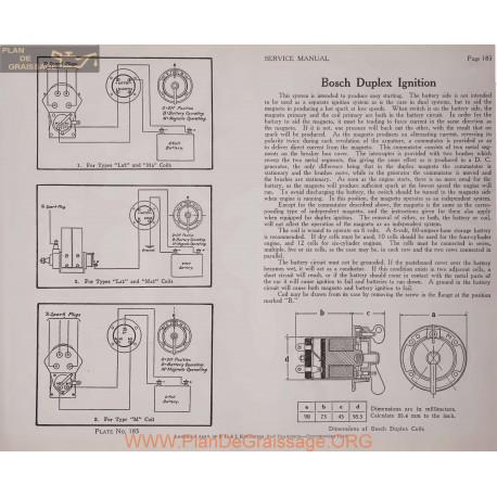 General Bosch Duplex Ignition Schema Electrique 1919 Plate 185
