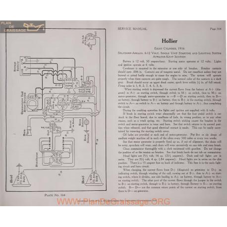Hollier Eight Cylinder 6volt 12volt Schema Electrique 1916 Splitdorf Plate 164