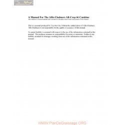 Allis Chalmers All Crop 66 Combine Parts List Manual